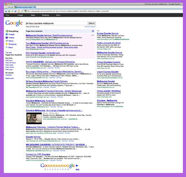 sidebar adwords on google homepage